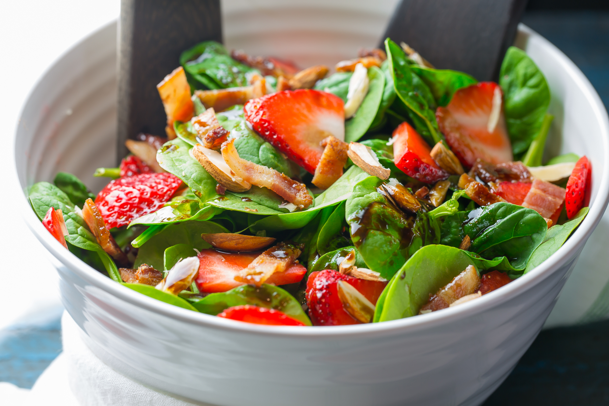 Simple Spinach Salad with Strawberries in a bowl
