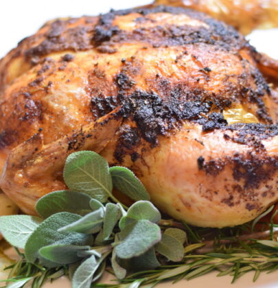 Roasted Chicken with Root Vegetables and Black Pepper and Honey Roasted Brussels Sprouts