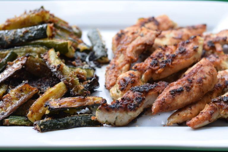 Organic Chicken Tenders and Zucchini Fries