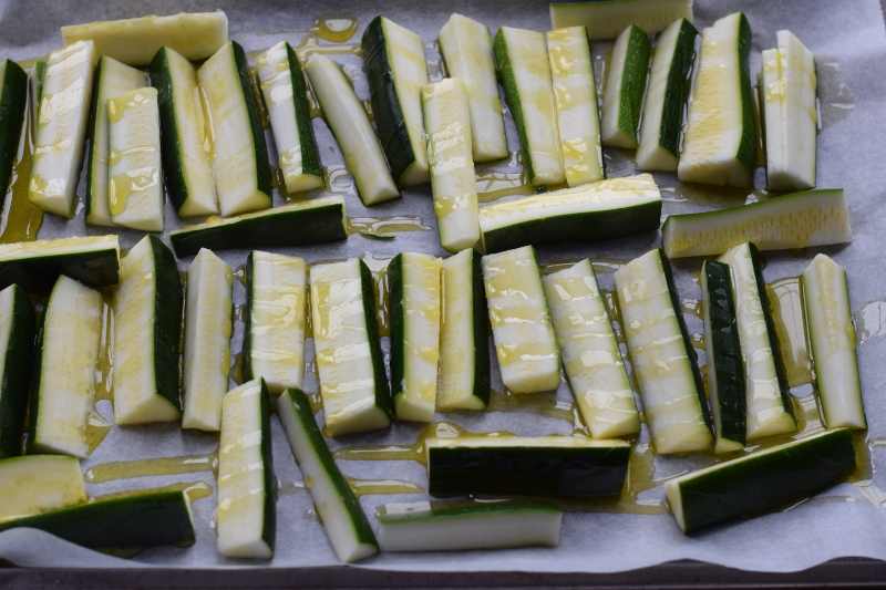 olive oil coated zucchini