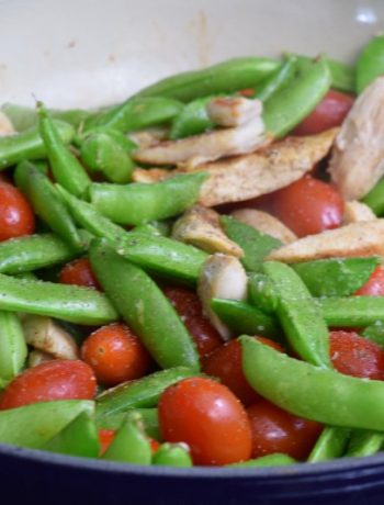 snow peas grape tomatoes and chicken breast