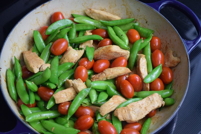 saute snow peas grape tomatoes and chicken breast