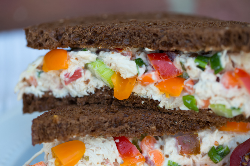 chciken salad on pumpernickel