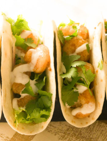 close up shrimp tacos