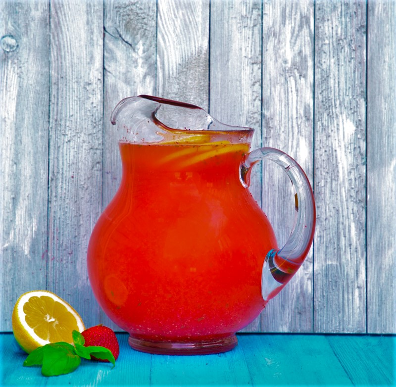 pitcher of strawberry basil lemonade
