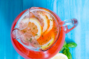 overhead shot of strawberry basil lemonade