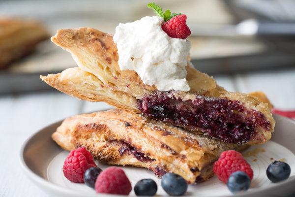 blue raspberry cheesecake turnovers close up