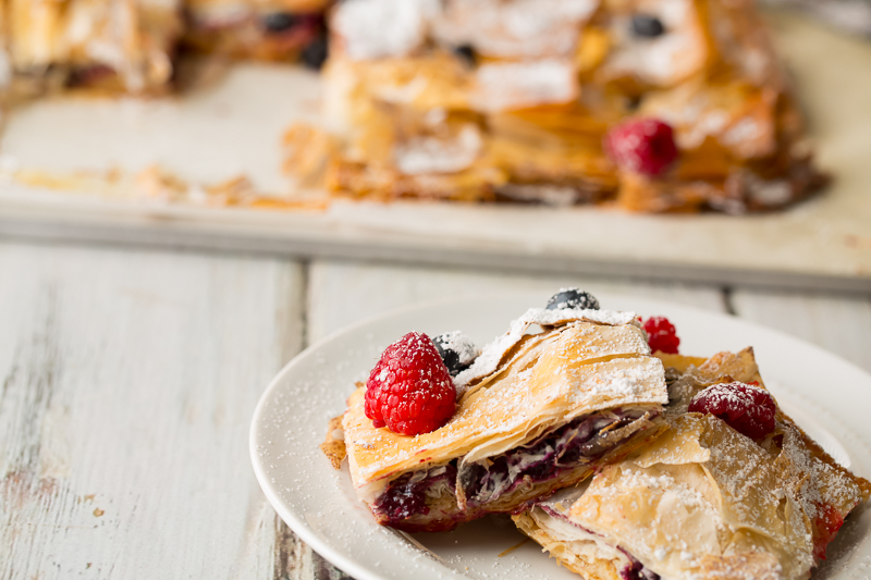 very berry phyllo bars on a plate