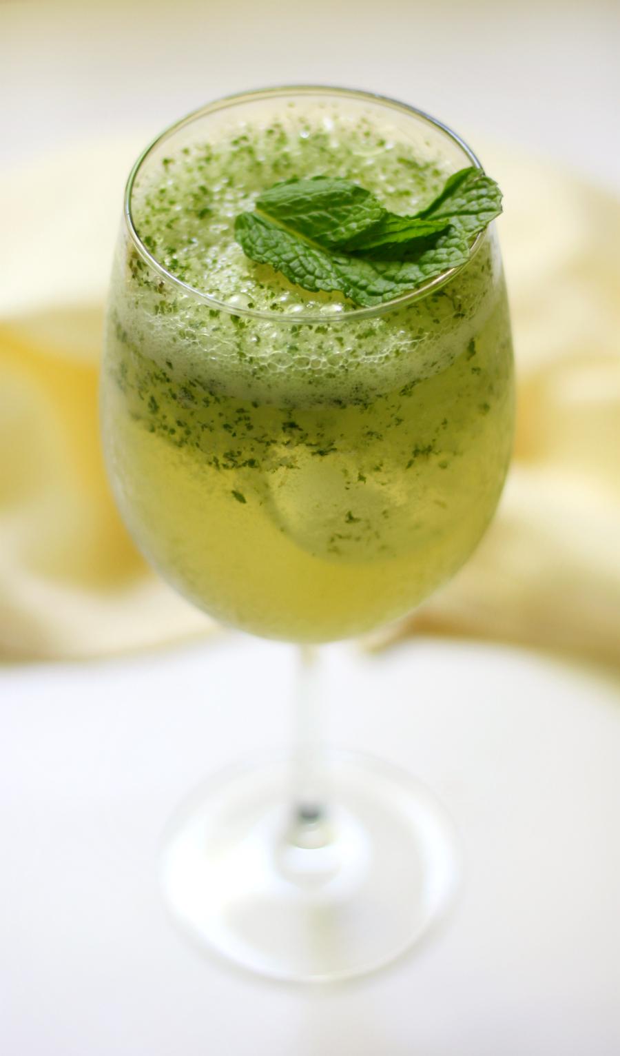 coconut mint green tea mocktail