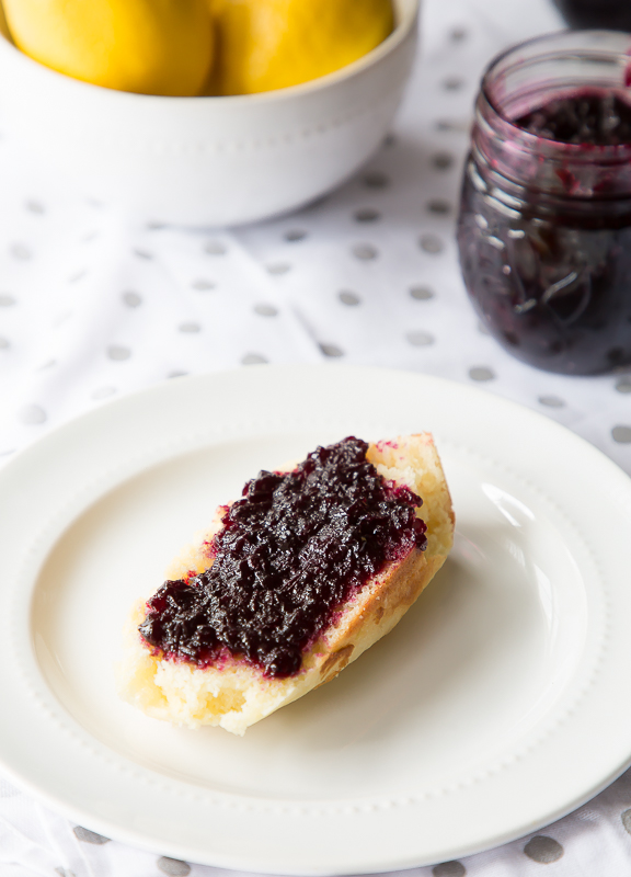 lemon pound cake and blueberry lavender jam