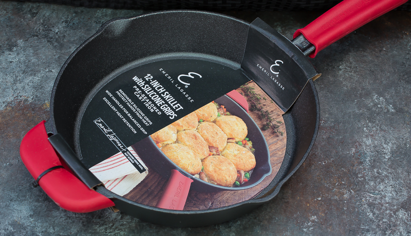 emeril cast iron skillet in packaging