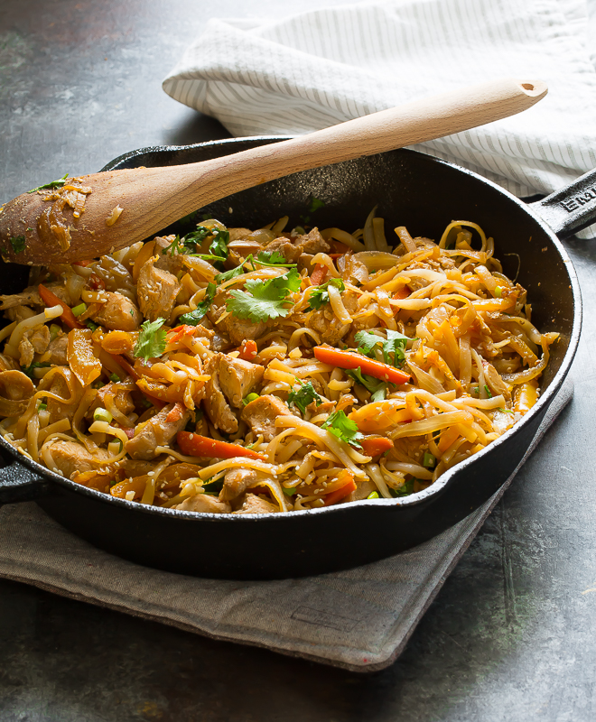 homemade pad thai in a skillet