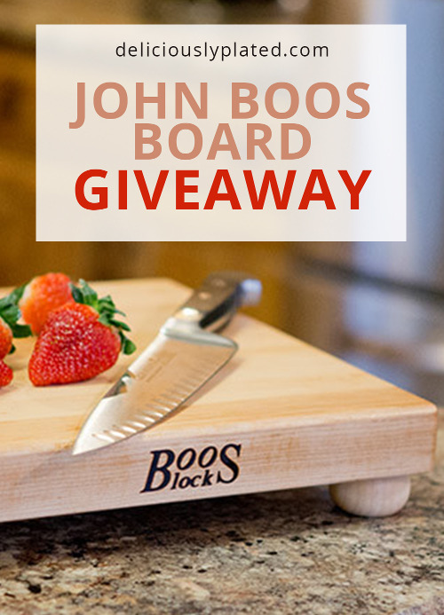 John Boos cutting board with a knife resting on it