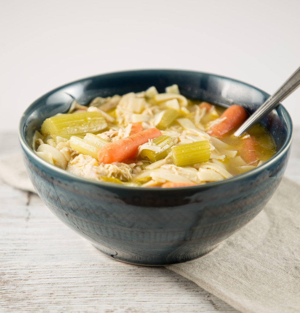 homemade chicken soup in a bowl