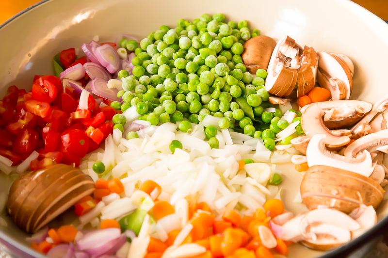 sauteing veggies in pan