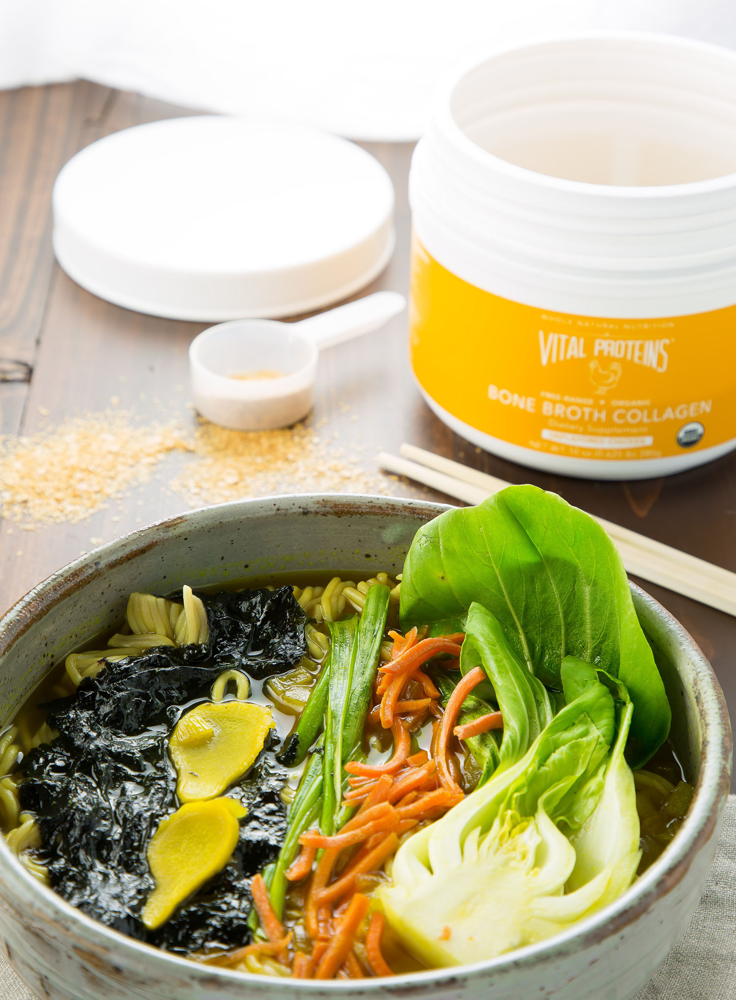 ramen bowl with bone broth collagen
