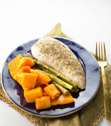 One Pan Roasted Turkey with Asparagus and Butternut Squash