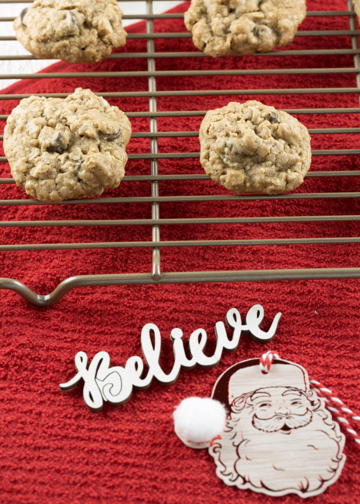 spiced oatmeal chocolate chip cookie recipe on cooling rack