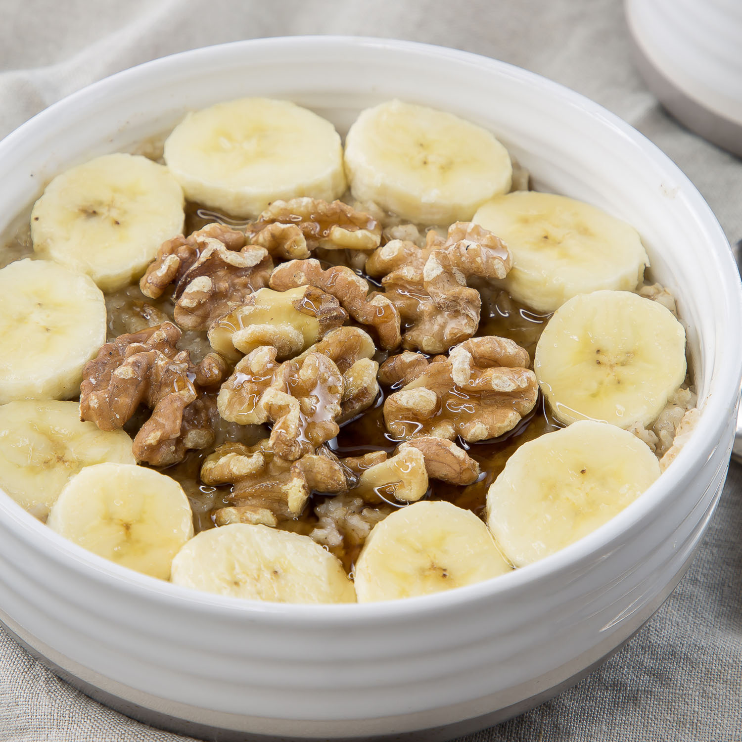 banana nut oatmeal in a bowl