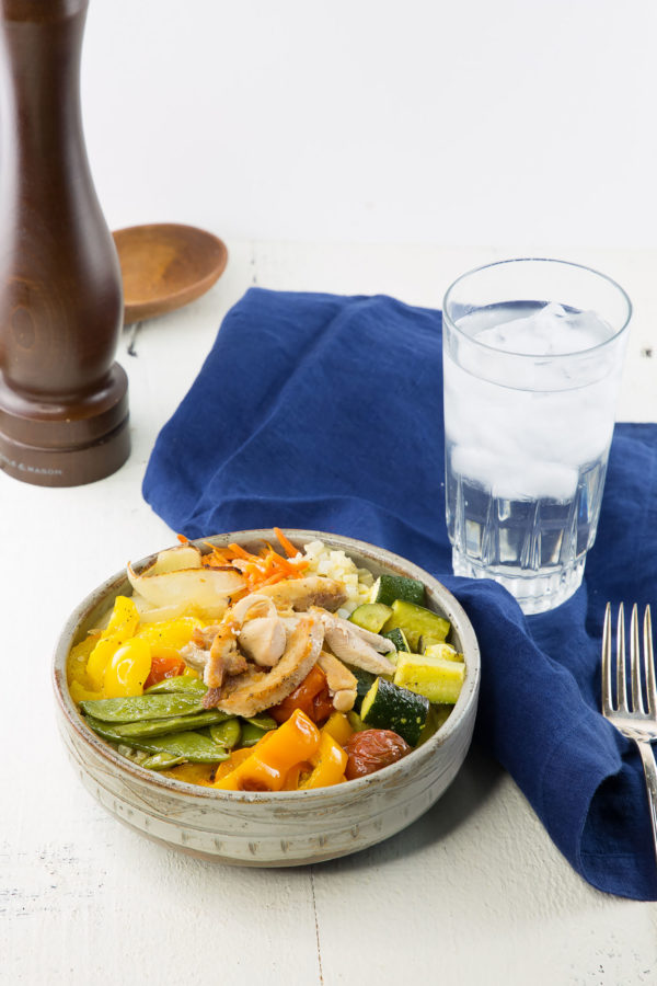 roasted chicken and veggies in a bowl