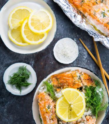 Baked Alaska King Salmon with Lemon and Dill Rice Bowl