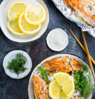 Baked Alaska King Salmon with Lemon and Dill Rice Bowl