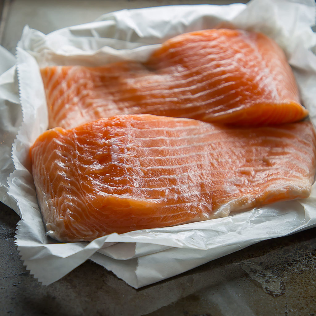 fresh alaska king salmon fillets