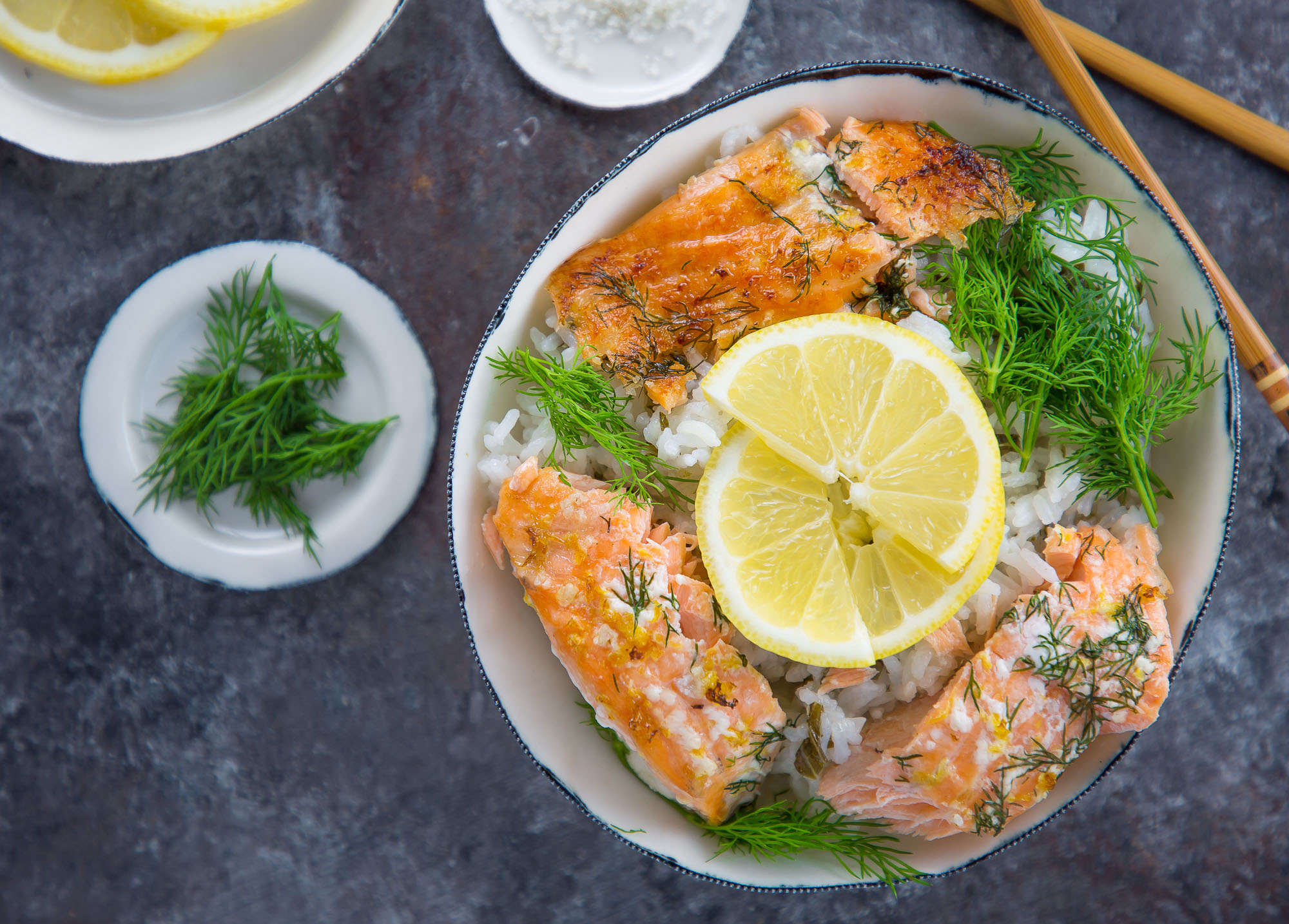baked salmon with lemon and dill rice bowl
