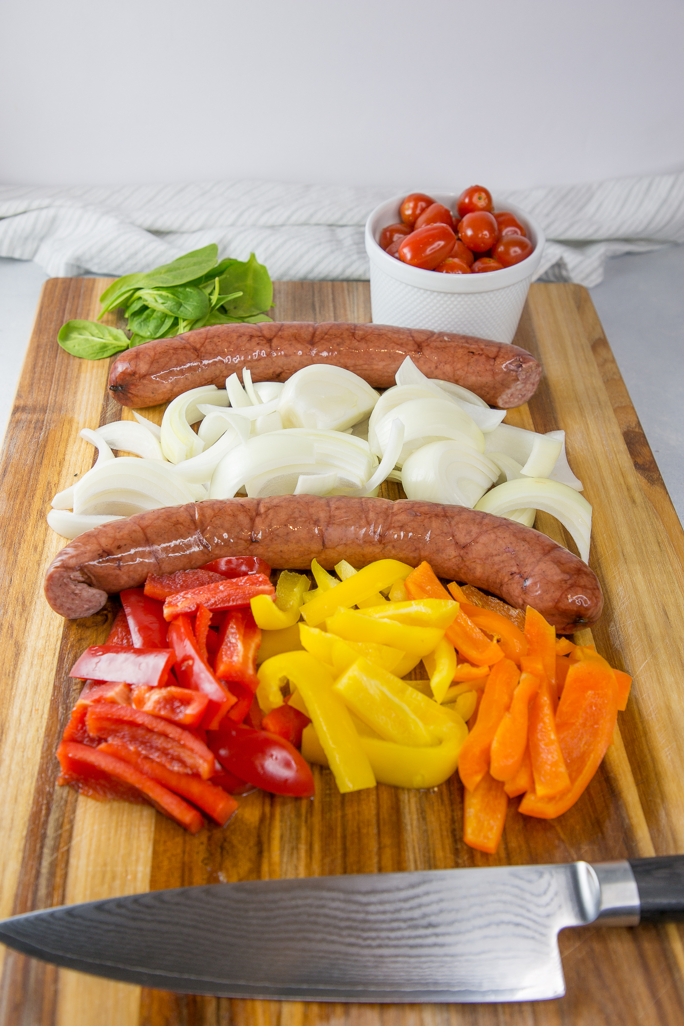kielbasa and vegetables stir-fry ingredients
