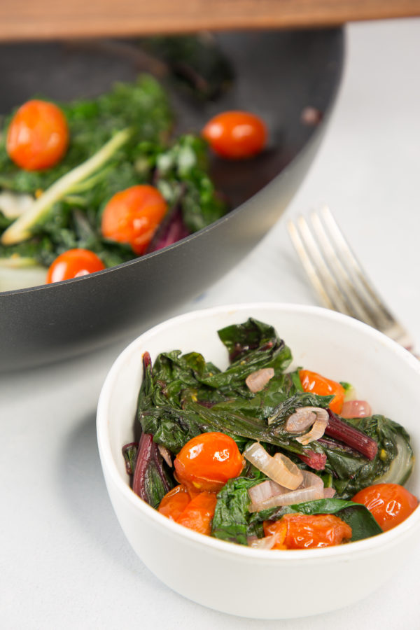 bowl of Sautéed Chard with tomatoes and shallots