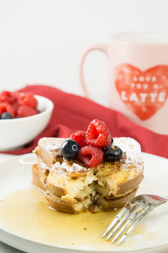 french toast recipe with a bite taken out