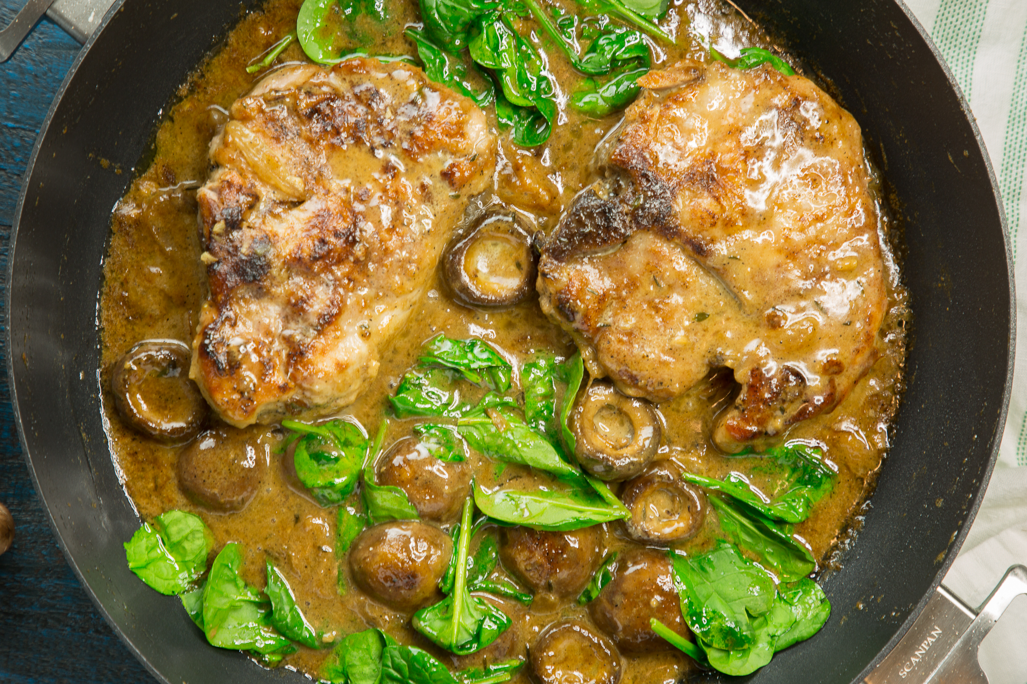 Best pork chops with mushroom gravy