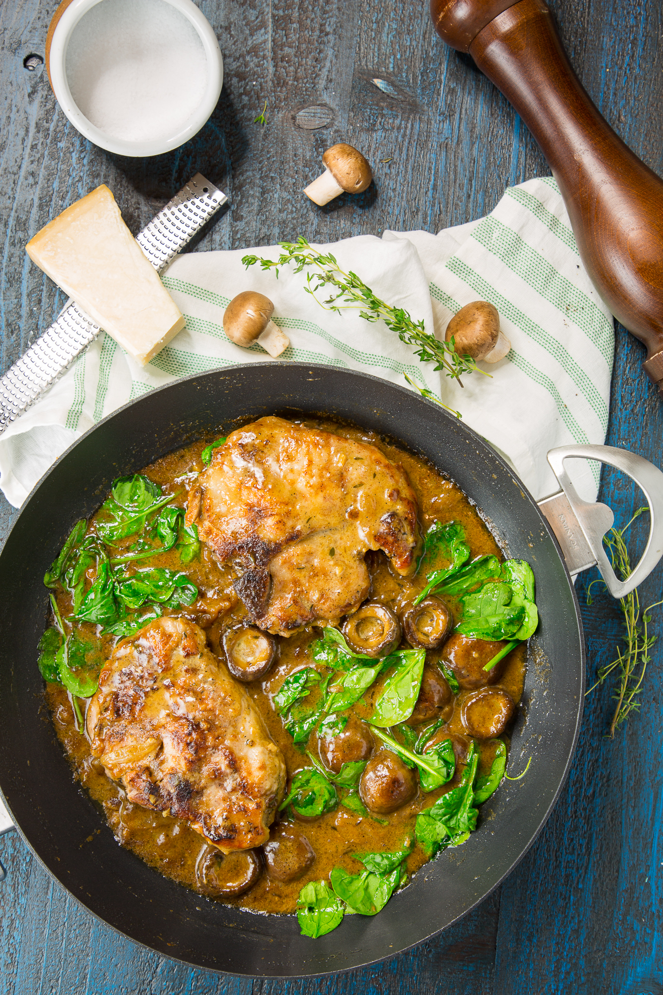 Pork Chops with Mushroom Gravy in a Chef Pan