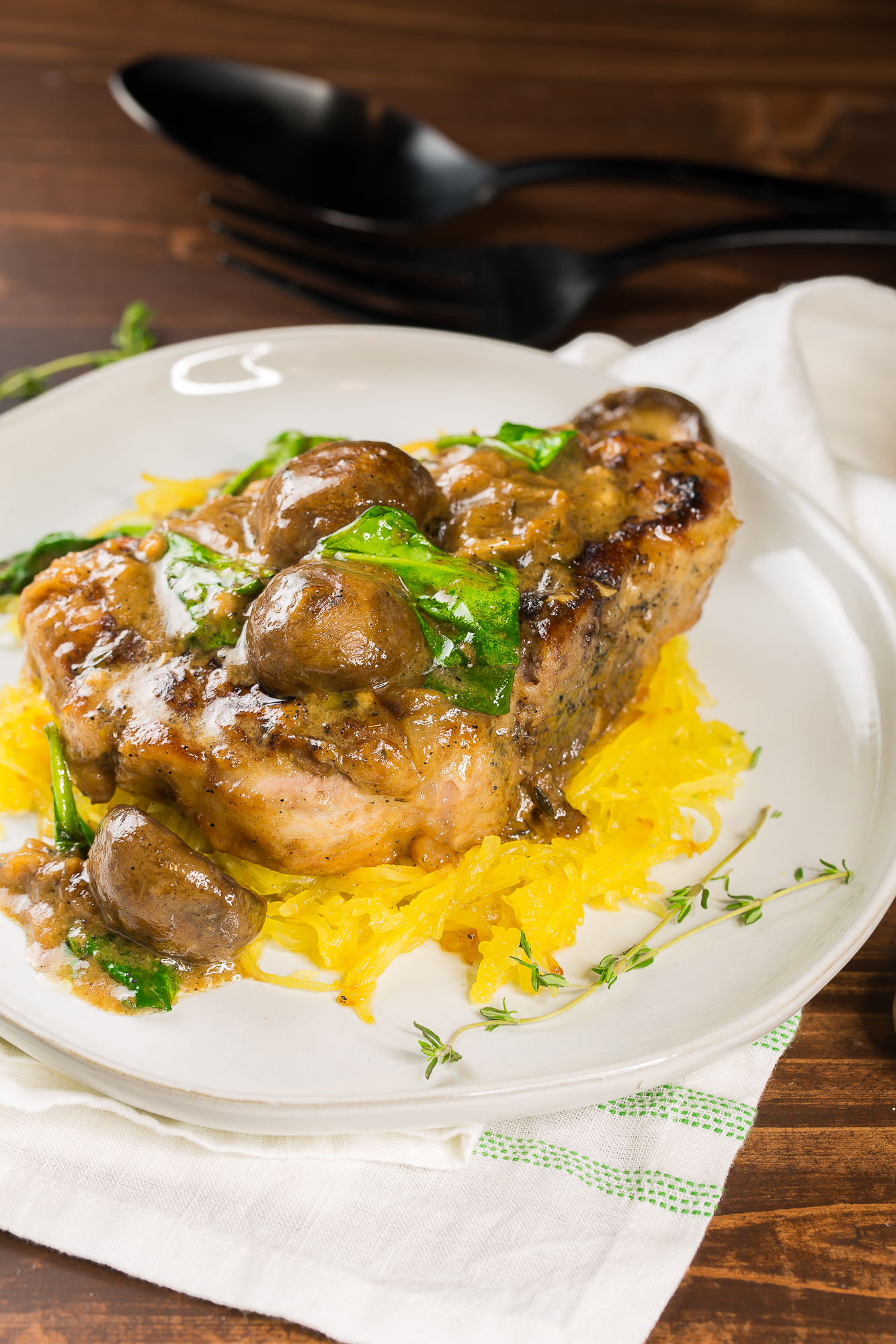 Yummy pork chops with mushroom gravy
