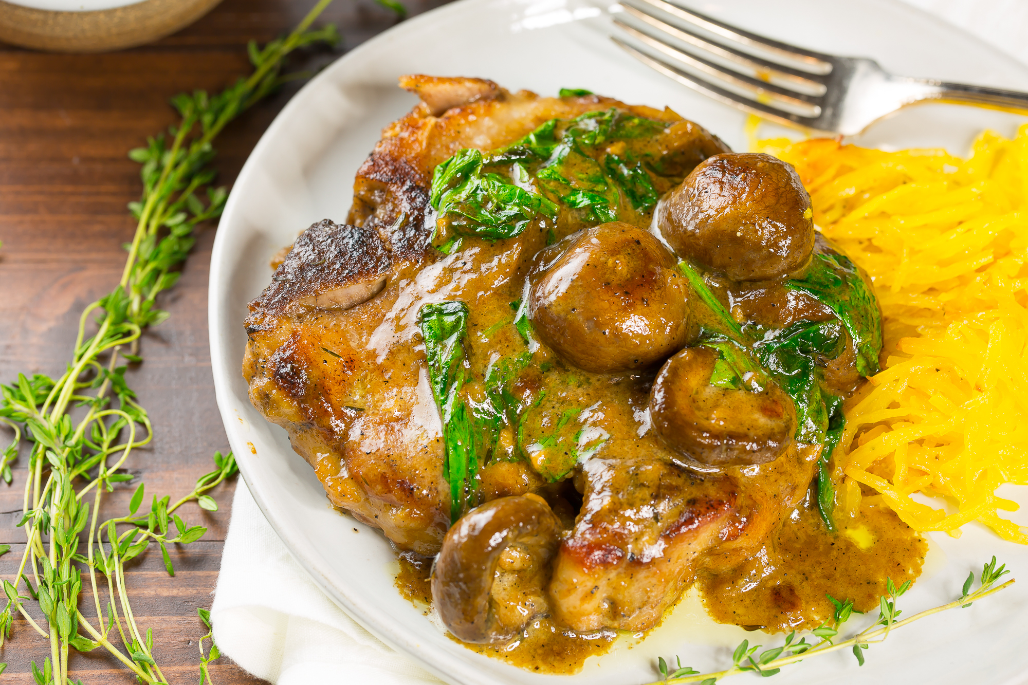Pork chops with mushroom gravy and spaghetti squash