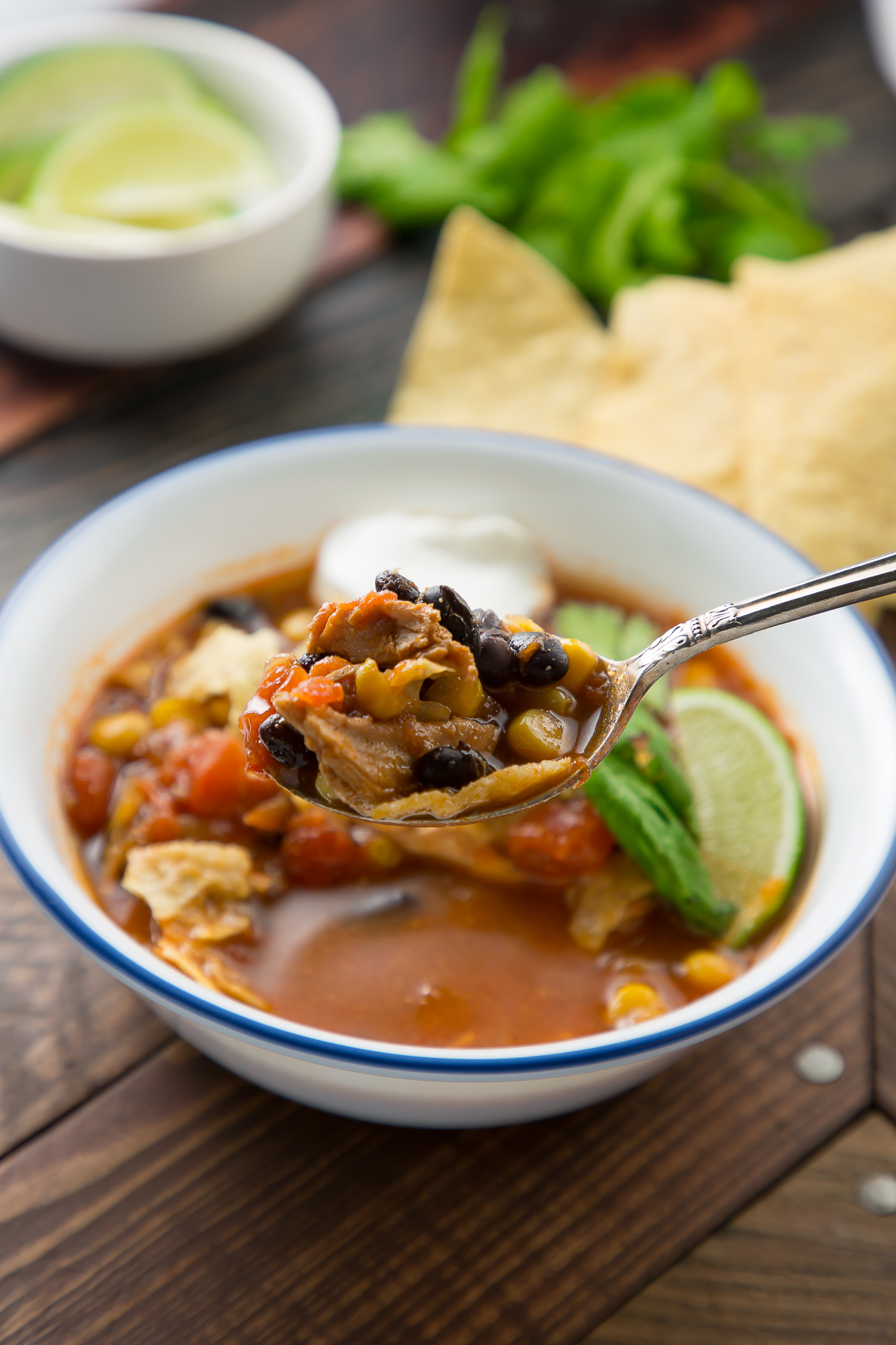 A spoon of the BEST taco soup
