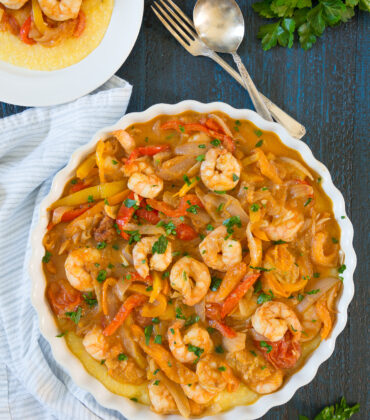 Shrimp and Peppers on Creamy Polenta