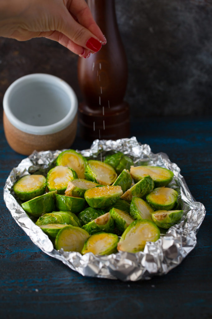 black pepper and honey roasted bruseels sprouts