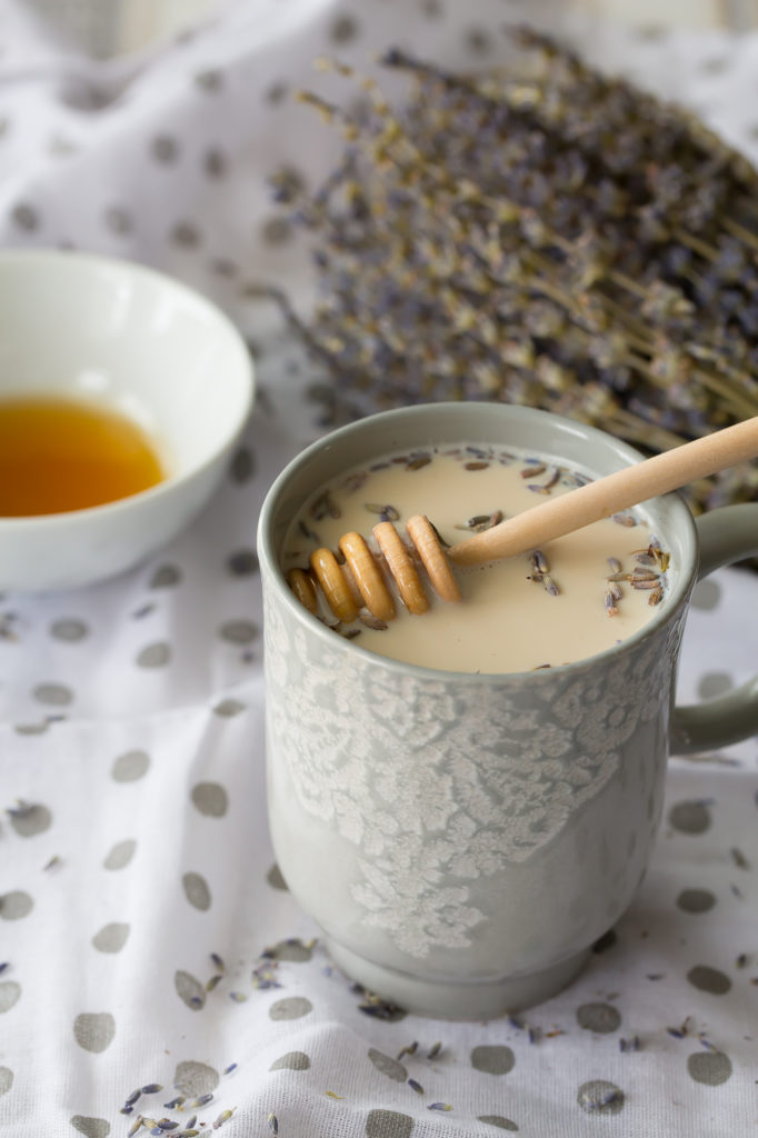 Delicious earl grey latte with lavender and honey