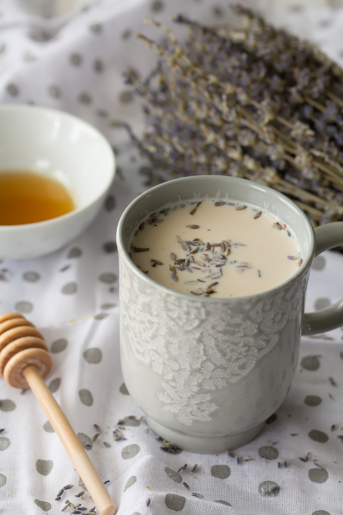Comforting earl grey latte with lavender and honey