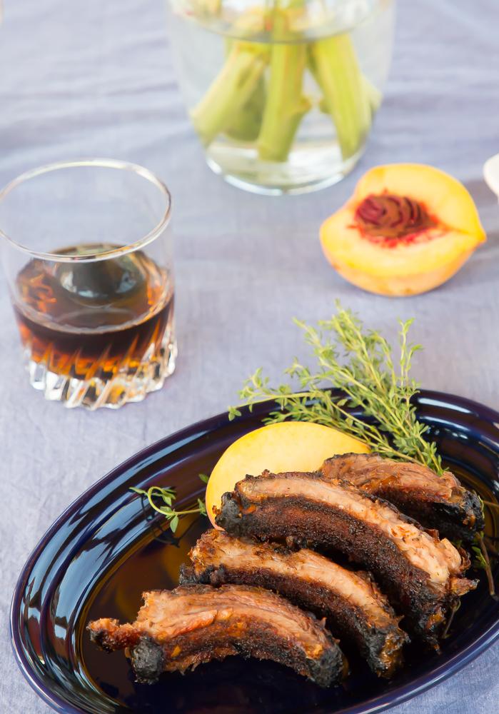 bourbon peach grilled ribs