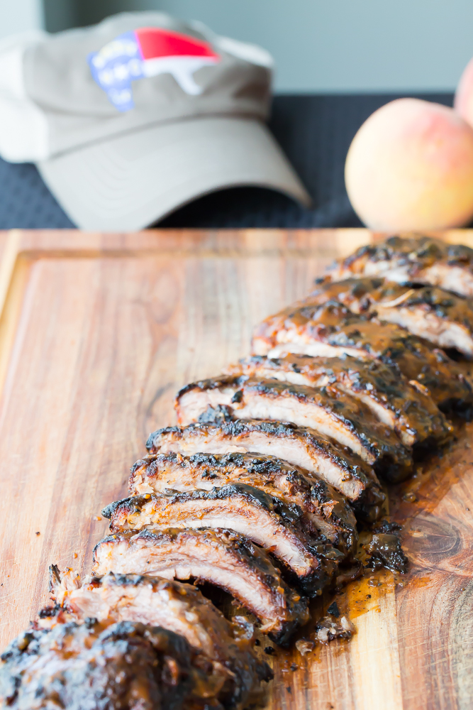 Bourbon peach grilled ribs sliced