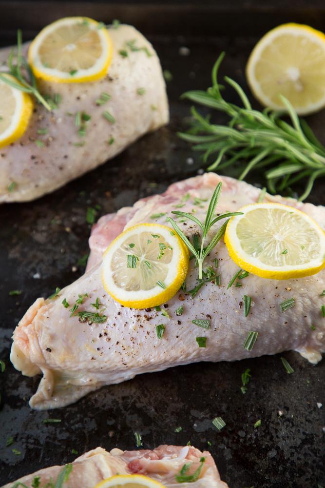 Prepped lemon and rosemary chicken