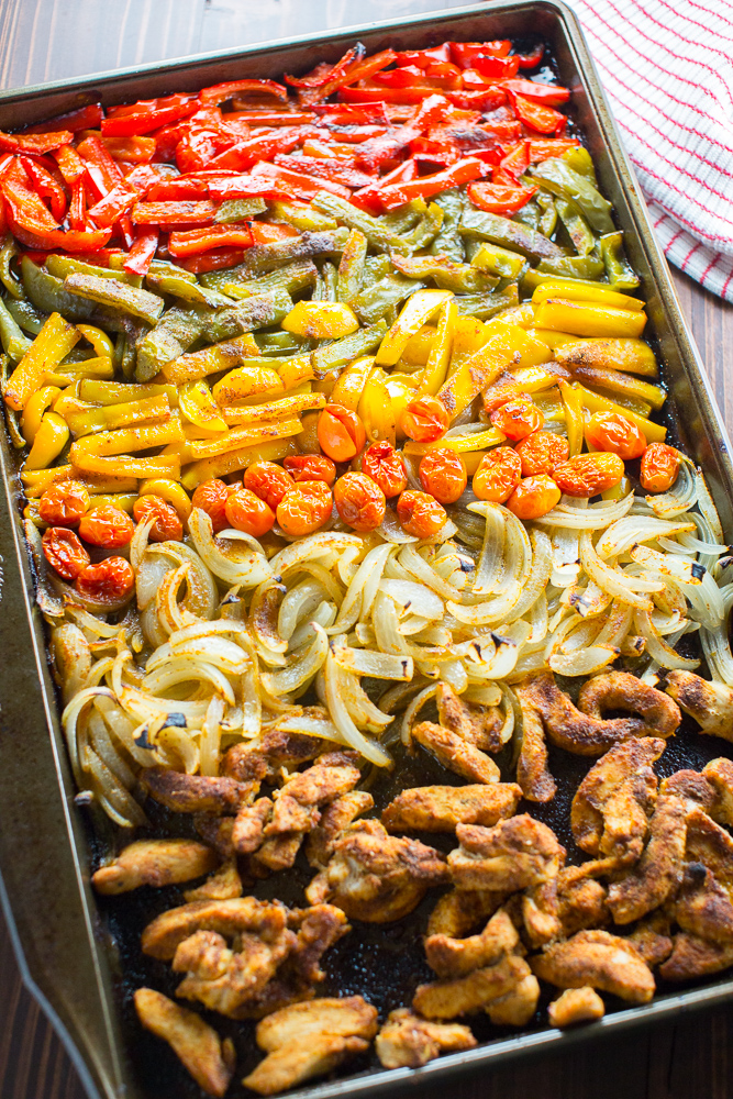 Baked chicken fajita bowls on a sheet pan