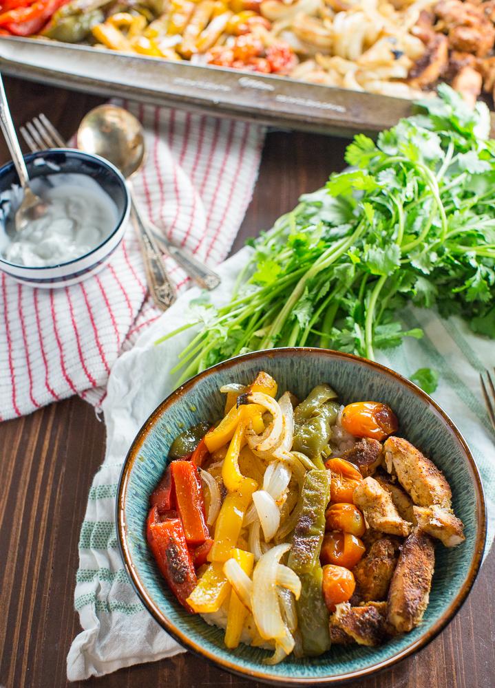 chicken fajita bowls with cilantro